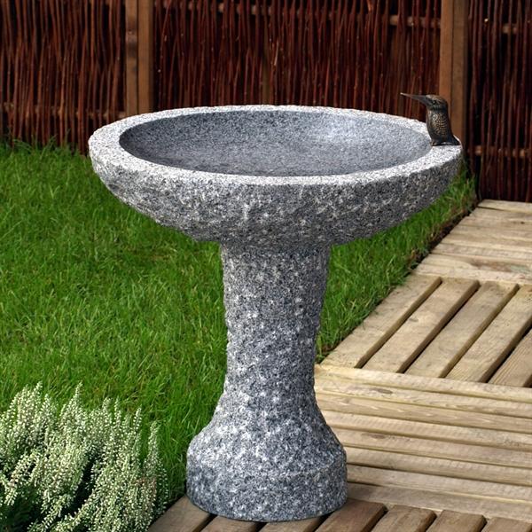 granit fuglebad p sokkel indvendig poleret 35 cm k b. Black Bedroom Furniture Sets. Home Design Ideas
